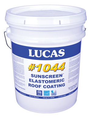 Lucas #1044 SunScreen™ White Elastomeric Roof Coatings.
